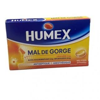 HUMEX MAL DE GORGE LIDOCAÏNE MIEL CITRON 24CP